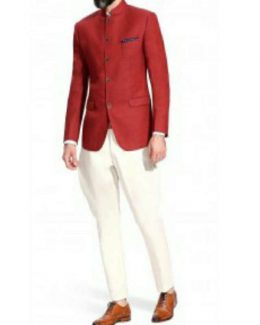Best Color Jodhpuri Suit in Red With White Pant