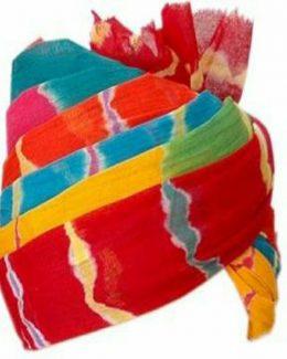 Jodhpuri Pachrangi Lehriya Safa (Multicolour, Free Size)