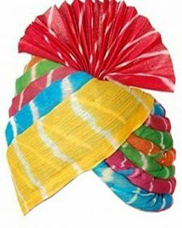 Leheriya Printed Turban in Pink in Multicolor  safa