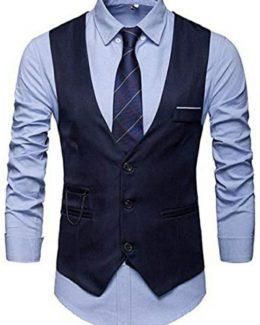 Men's Design U-Neck Slim Fit Collar Jacket+Shirt