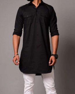 Black Colour Two Pocket  Kurta with  Pajama