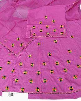 Cotton Suit Single  Colour  Odhana (Woolen Work)