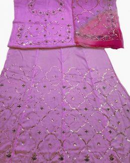 Baby Pink colour poshak saatan and pyor odhna with  taari hand work