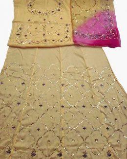 Light Yellow colour poshak saatan and pyor odhna with  taari hand work