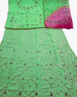 eliachi  colour poshak saatan and pyor odhna with  taari hand work
