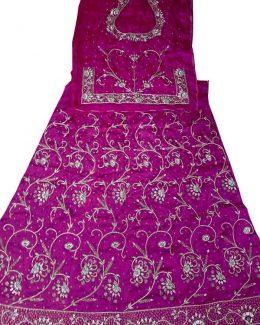 Purple colour poshak Bembeer saatan and pyor odhna With Jardoji hand work