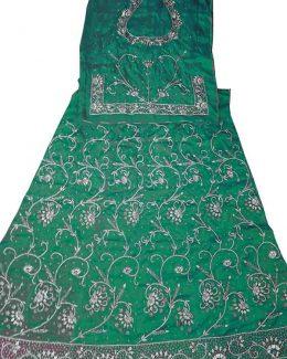 Rama colour poshak Bembeer saatan and pyor odhna With Jardoji hand work