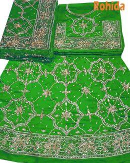 parrot green colour poshak saatan and pyor odhna with goota and taari hand work