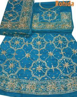firoozi colour poshak saatan and pyor odhna with goota and taari hand work
