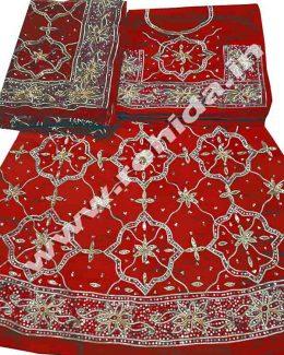 red colour poshak saatan and pyor odhna with goota and taari hand work (Copy)