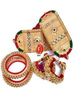 Origanl Gold Look Jadai Rajwadi Bajubandh  Ponchi With Golden Loom combo