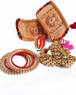 Origanl Gold Look Jadai Rajwadi Bajubandh Combo With Golden Loom