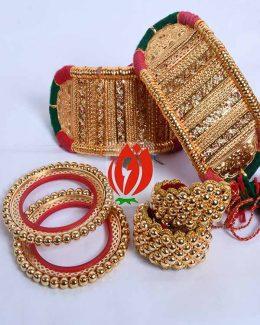 Origanl Gold Look Jadai Rajwadi Bajubandh  Ponchi With Golden Loom